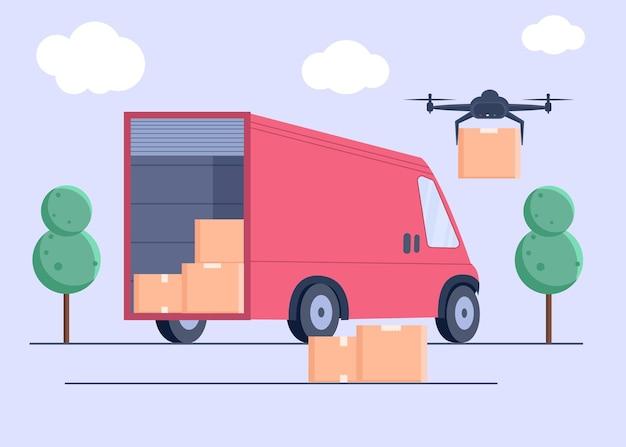 Drone dostarcza pudełka. koncepcja dostawy bezkontaktowej