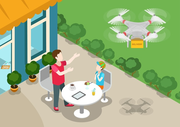 Drone quadcopter 3delivery online product store concept