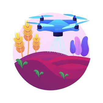 Drone rolnictwa używać abstrakcyjnej koncepcji ilustracji. rolnictwo rolnictwo precyzyjne, pierwsza pomoc, analiza, opryski upraw, nadzór dronów, monitoring nawadniania.