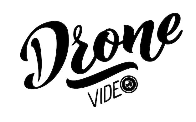 Drone wideo wektor ręcznie rysować napis dla projektów strony internetowej wizytówki logo klubu latania