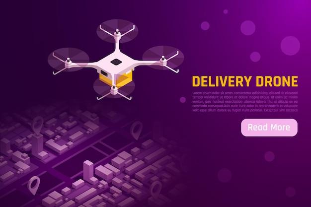 Drony quadrocopters ilustracja izometryczna z quadkopterem latającym nad szablonem banera internetowego miasta