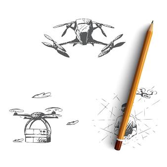 Drony ręcznie rysowane ilustracji