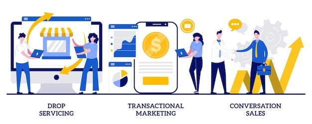 Drop service, marketing transakcyjny, koncepcja sprzedaży rozmowy z małymi ludźmi. sprzedaż streszczenie wektor zestaw ilustracji. relacja z klientem, decyzja zakupowa, metafora konwersji.