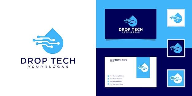 Drop tech logo ze stylem grafiki liniowej i projektem wizytówki