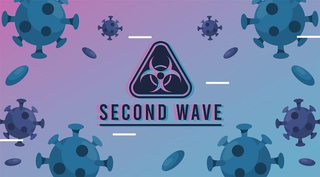 Druga fala pandemii wirusa covid19 z cząsteczkami i znakiem zagrożenia biologicznego
