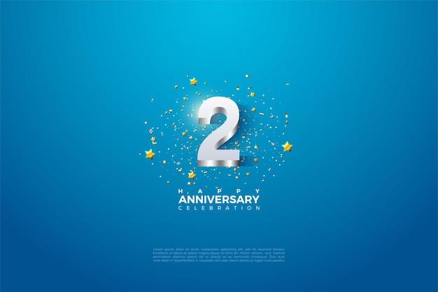 Druga rocznica z cyfrą w 3d wytłoczoną w błyszczącym srebrze.