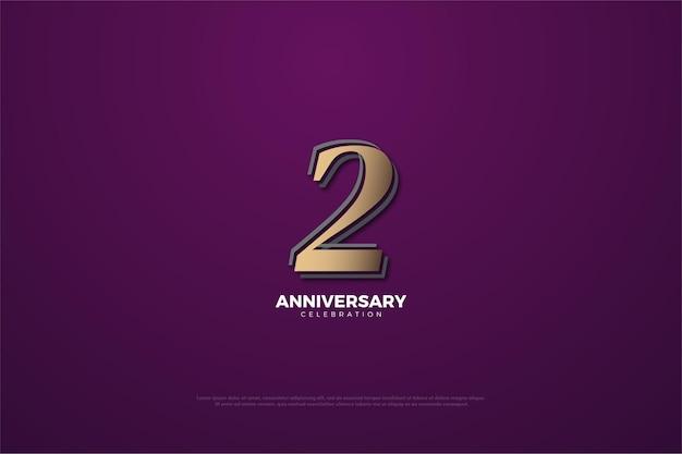 Druga rocznica z wyblakłym brązowym numerem i obramowana na fioletowym tle.