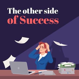 Druga strona sukcesu makiety postów w mediach społecznościowych. stres w pracy. szablon projektu banera internetowego reklamowego. wzmacniacz mediów społecznościowych, układ treści. plakat promocyjny, reklamy drukowane z płaskimi ilustracjami