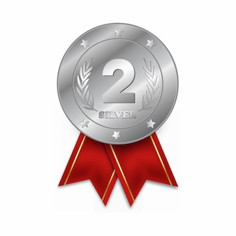 Drugie miejsce medal na białym tle