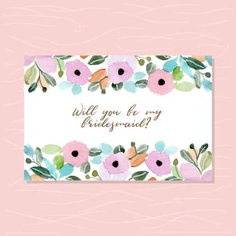 Druhna karty z kwiatowy tle akwarela