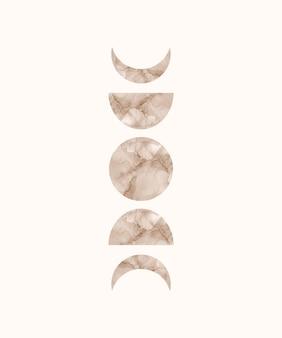 Druk artystyczny boho z teksturą tuszu alkoholowego księżyca i słońca.