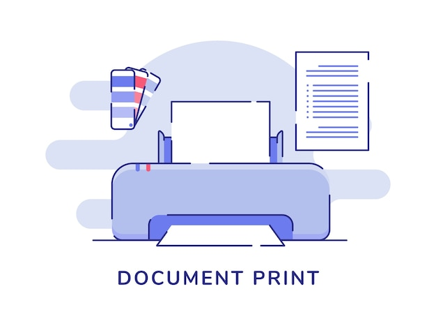 Druk dokumentu koncepcja drukarka maszyna paleta kolorów tekst papier białe na białym tle