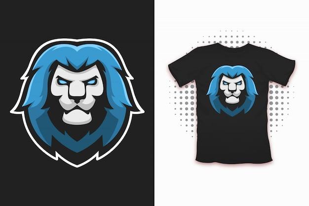 Druk lwa na projekt koszulki