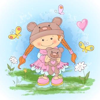 Druk pocztówkowy z uroczą dziewczyną w garniturze niedźwiedzi z zabawką. styl kreskówki.