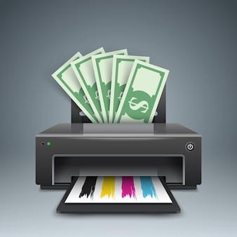 Drukarka drukuje pieniądze, dolary - ilustracje biznesowe.
