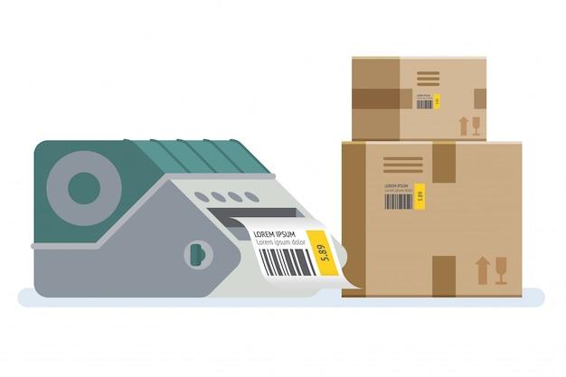 Drukarka etykiet z pudełkami. pudełka do pakowania oznaczone kodem kreskowym.