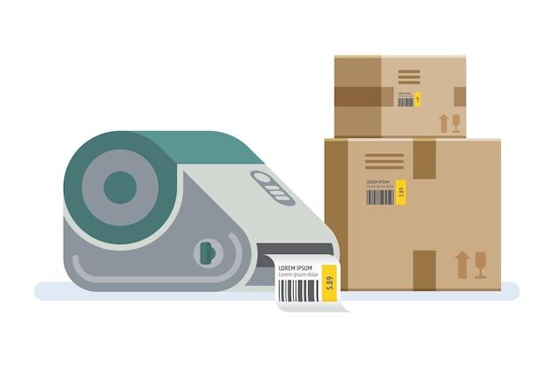 Drukarka etykiet z pudełkami. pudełka opakowaniowe oznaczone kodem kreskowym. ikona ilustracja