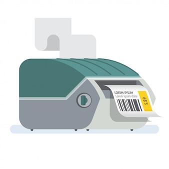 Drukarka kodów kreskowych ilustracja ikony drukarki etykiet