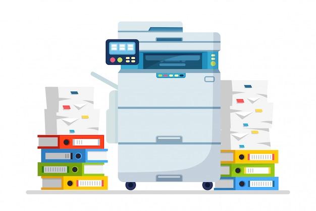 Drukarka, maszyna biurowa z papierem, stos dokumentów. skaner, sprzęt kopiujący. papierkowa robota. urządzenie wielofunkcyjne. kreskówka