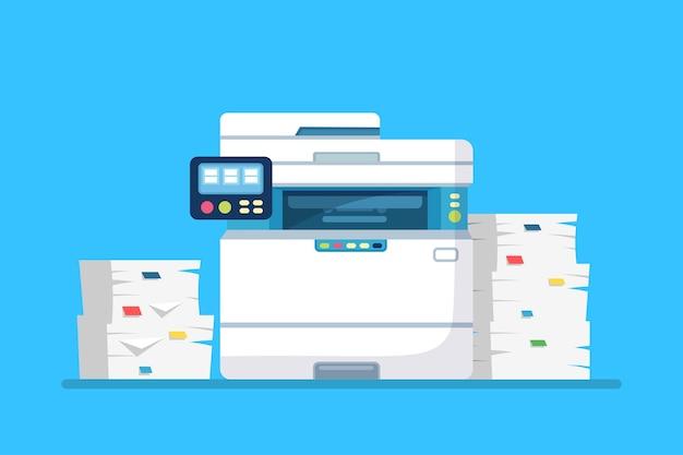 Drukarka, maszyna biurowa z papierem, stos dokumentów. skaner, sprzęt kopiujący.