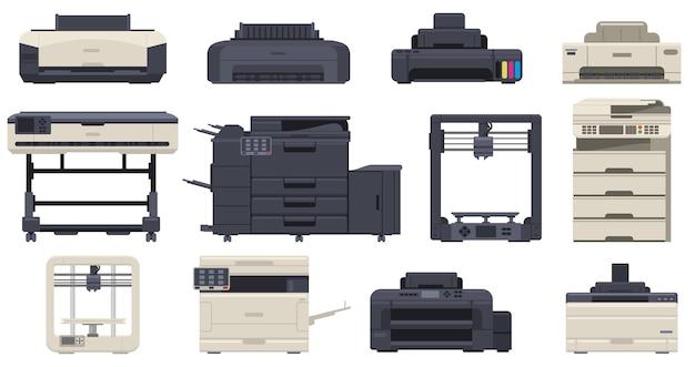 Drukarki biurowe pracują profesjonalne kopiarki ze skanerami. urządzenia drukujące w technologii biurowej, drukarka 3d, zestaw ilustracji wektorowych kopiarki. wielofunkcyjne maszyny biurowe i skaner, drukarka laserowa