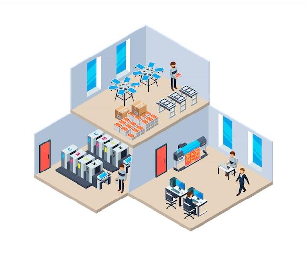 Drukarnia. przemysł produkcyjny technologia poligrafii firma drukująca wnętrze drukarni
