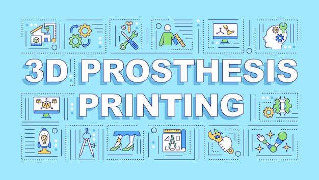 Drukowanie protez 3d z koncepcjami słów. innowacyjna produkcja urządzeń. infografiki z liniowymi ikonami. typografia na białym tle.