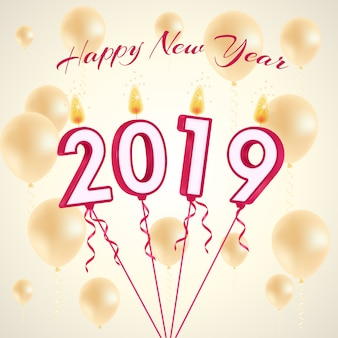 Drukuj 2019-candles balloons vector