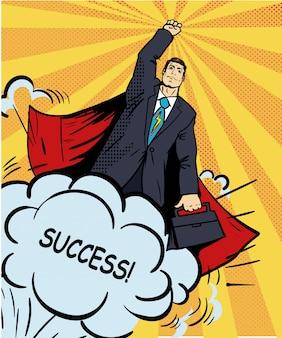 Drukuj bohater superbohatera latający z teczką. ilustracja w stylu retro pop-art. komiks biznesowy sukces.