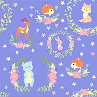 Drukuj cute animal pattern
