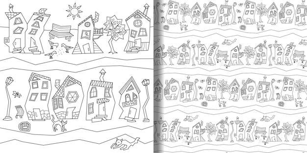 Drukuj i bezszwowe wzór z abstrakcyjnej ulicy miasta fantasy dla nadruków tekstylnych w tle