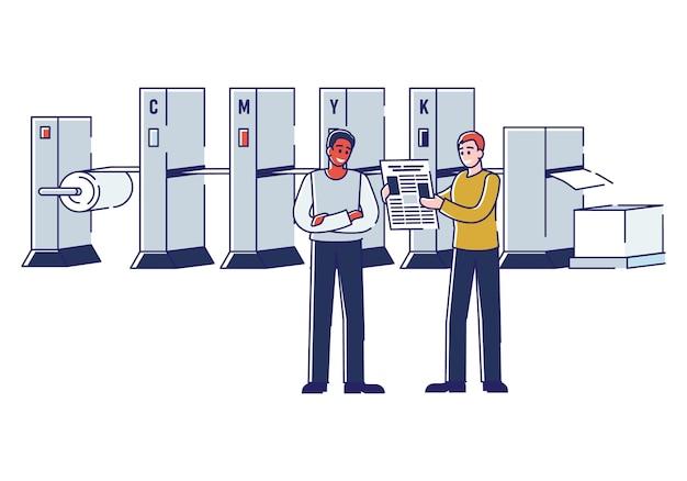 Drukuj Maszyną I Sprawdzaj Jakość Gazet Premium Wektorów