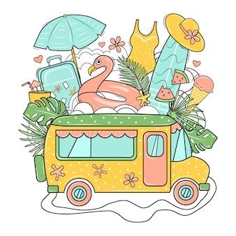 Drukuj z autobusem, walizką, deską surfingową, flamingiem, kapeluszem plażowym, lodami i liśćmi palm. ilustracja.