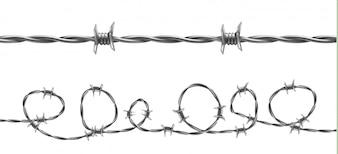 Drut kolczasty ilustracja, horyzontalny bezszwowy wzór z kręconym barbeta drutem