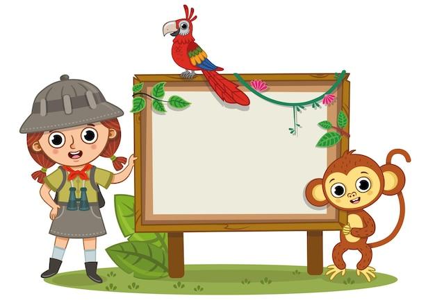 Drużyna dżungli dziewczyna papuga małpa stojąca obok pustej tablicy