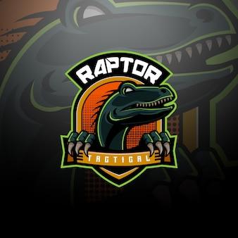 Drużyna e-sportowa z logo taktycznym raptor
