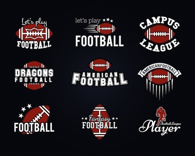 Drużyna futbolu amerykańskiego, odznaki uczelni, loga, etykiety, insygnia, ikony w stylu retro. graficzny projekt vintage