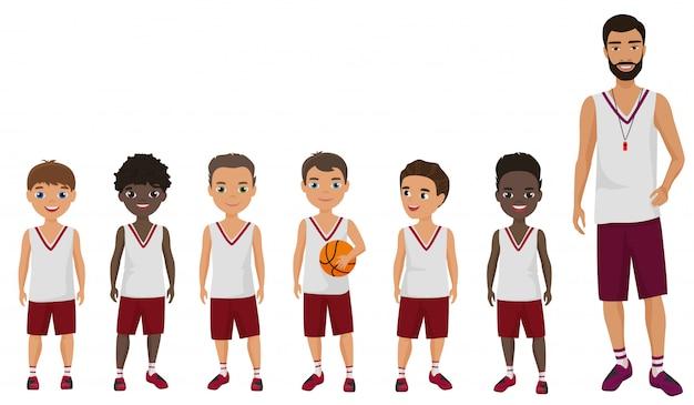 Drużyna koszykówki chłopców kreskówki płaskie dzieci stojących z trenerem trenera.