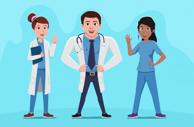 Drużyna lekarek pracowników szpitalnych personelu medycznego ilustracja