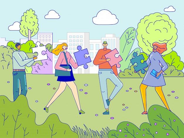 Drużyna ludzi pracuje pojęcie, mężczyzna i kobiety współpracuje stawiać wyrzynarki łamigłówki kawałki, ilustracja