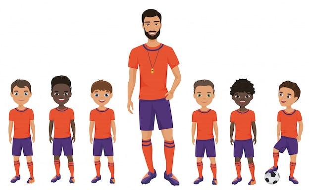 Drużyna piłkarska małych szkolnych dzieci z trenerem. ilustracja.