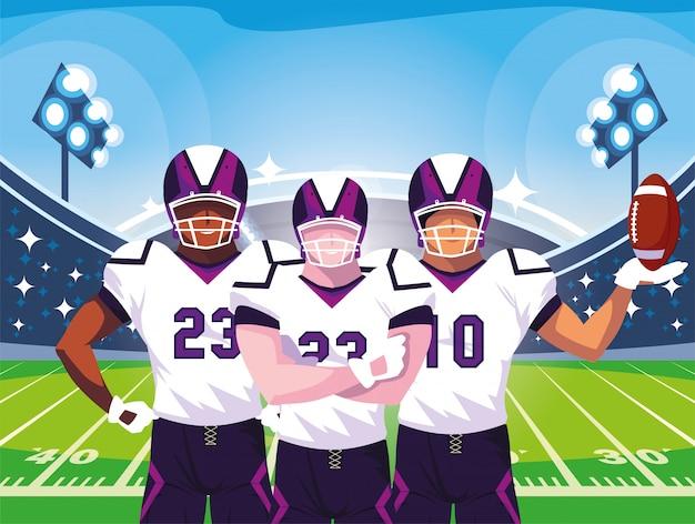 Drużyna piłkarzy rugby, sportowcy w mundurach