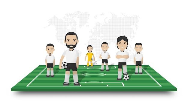 Drużyna piłkarzy stoi na perspektywicznym boisku. kropkowana mapa świata na na białym tle. postać z kreskówki sportowca. projekt 3d wektor.