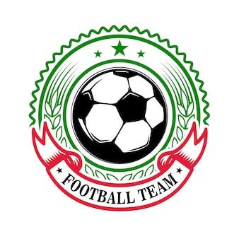 Drużyna piłki nożnej. szablon godło z piłki nożnej. element na logo, etykietę, znak, odznakę. ilustracja