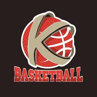 Drużyna z literą k koszykówki, godło mistrzostw, turniej koszykówki, grafika na koszulce sportowej.