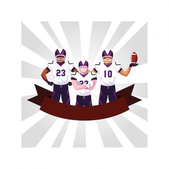 Drużyna zawodników futbolu amerykańskiego, sportowcy w mundurach