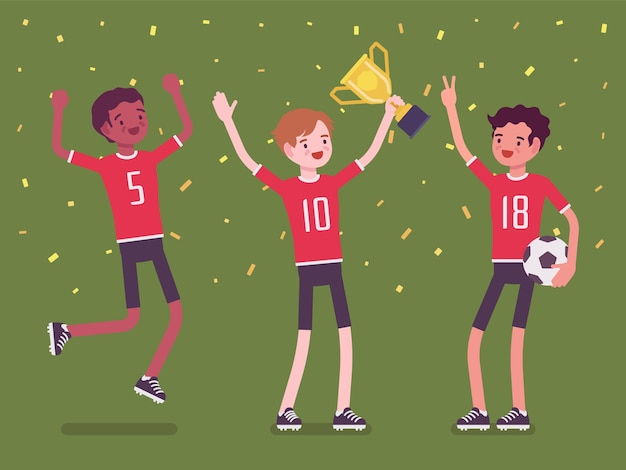 Drużyna zwycięzcy piłki nożnej z trofeum