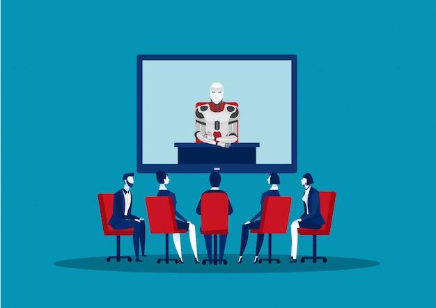 Drużynowy biznes ma telekonferencyjnego spotkania z robotem