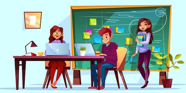 Drużynowy działanie w biurze z kanban deskową ilustracją. współpracownicy przy stołach roboczych