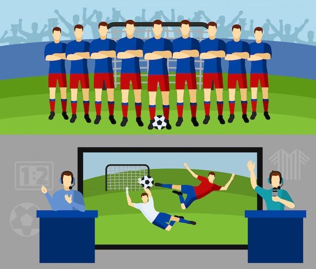 Drużyny piłkarskie 2 płaskie banery ustawione